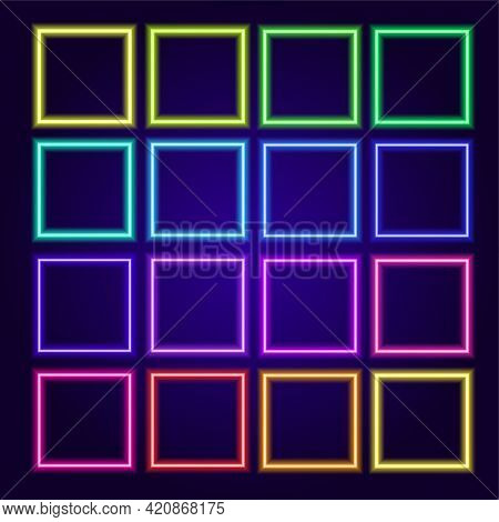 Neon Square Multi-colored Frames. Isolated Elements Of Neon Blank Different Frames With Space For Te