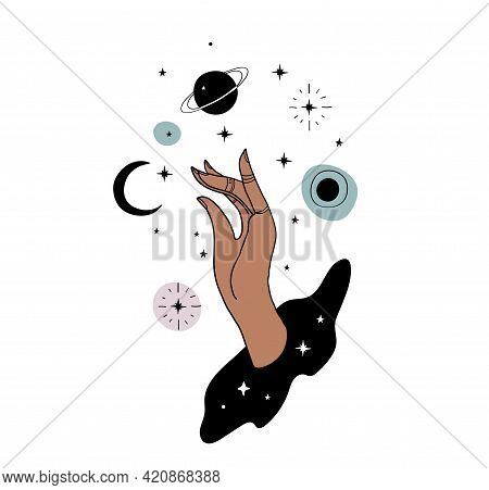 Mystical Boho Tattoo, Female Hand And Planets. Mystical Art For Astrology, Witchcraft, Magic Illustr