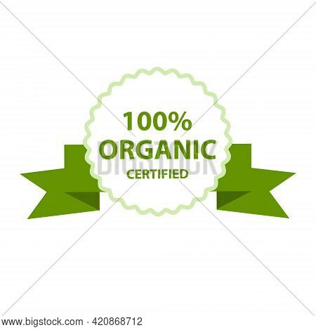100 Percent Organic Certified Stamp, Label Or Guarantee Logo. Vector Illustration Isolated On White