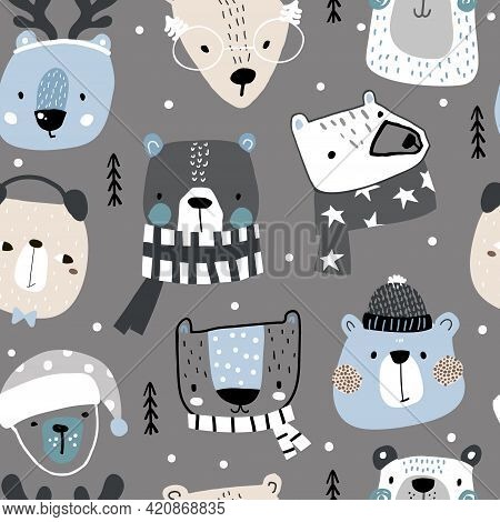 Seamless Childish Pattern With Cute Holiday Bears In Hat, Scarf. Creative Winter Hand Drawn Texture