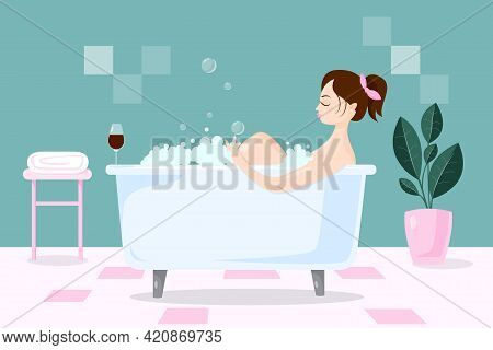 Pretty Woman Takes A Long Bath And Hugs Her Knees. The Concept Of Relaxation, Care And Self Love. Fe