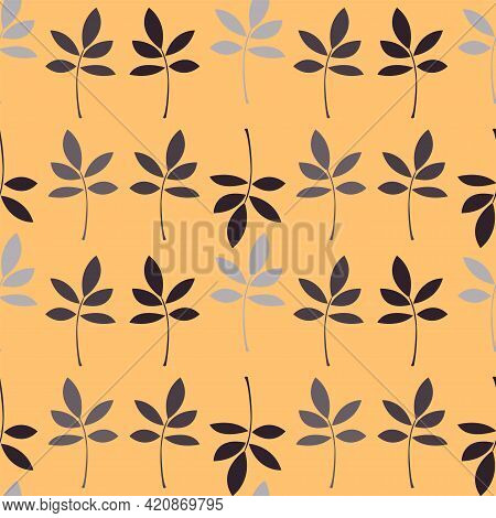 Minimalist Floral Seamless Pattern With Abstract Tree Branches. Vector Simple Background