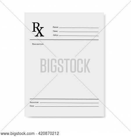 Realistic Blank Medical Prescription Form Isolated On White Background.