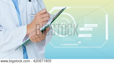 Composition of caucasian male doctor with clipboard over digital interface with medical icons. global medicine and digital interface concept digitally generated image.