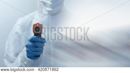 Composition of female scientist in lab using thermometer with motion blur. science and research technology concept digitally generated image.