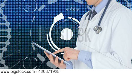 Composition of caucasian male doctor with tablet over digital interface with medical icons. global medicine and digital interface concept digitally generated image.