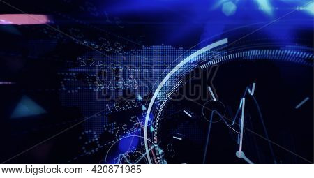 Round scanner and stock market data processing over world map on blue background. global finance and technology concept