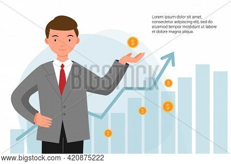 Man In A Jacket Successfully Invests His Money. A Boy Stands With Coins In His Hands On The Backgrou
