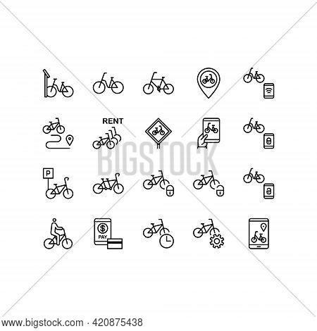 Bike Sharing Flat Line Icons Set. Urban Transportation, Rent A Bike, Bicycle Parking, Bike Rental Ap