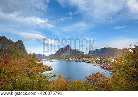 Beautiful Colourful View Of  Reine Landscape In Lofoten Islands