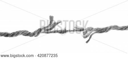 Frayed Rope At Breaking Point On White Background, Banner Design. Cheating Concept