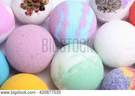 Colorful Bath Bombs On White Background, Above View