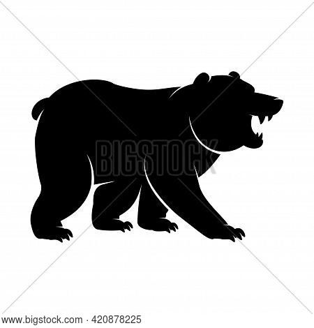 Black Silhouette Of A Standing And Roaring Bear Icon. Vector Illustration Of An Angry Monochrome Arc
