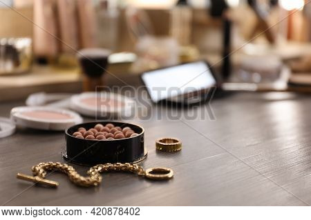 Blush And Jewelry On Dressing Table Indoors, Space For Text