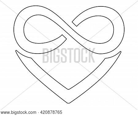 Heart And Infinity - Polyamory Sign - Vector Linear Illustration For Coloring Pages, Icons Or Pictog