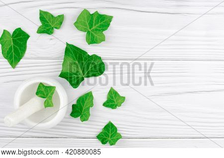 Concept For The Production Of Products From Natural Ingredients And Alternative Medicine. Mortar And