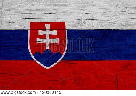 Flag Of Slovakia. Wooden Texture Of The Flag Of Slovakia.