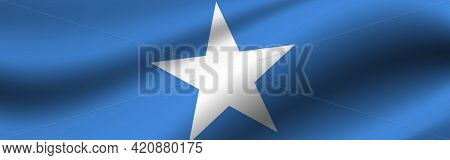 Banner With The Flag Of Somalia. Fabric Texture Of The Flag Of Somalia.