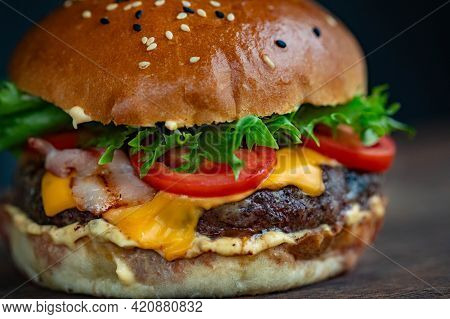 Hamburger On A Plate Hamburger And French Fries Tasty And Delicious Burger Fresh And Healthy Food Co
