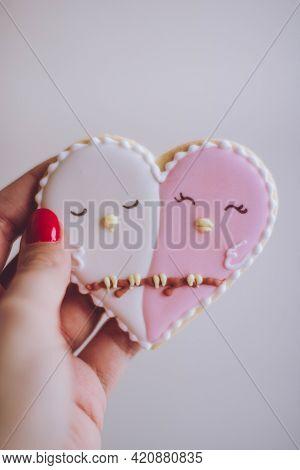 Cake With Cream Beautiful Heart Shape Decoration Valentine Women Heart Pink Colorful Valentine Shape