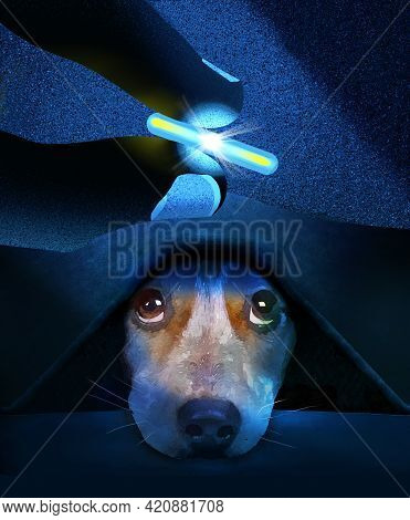A Microchip For Tracking A Pets Location Is Held By Fingers As A Skeptical Beagle Dog Peers Up From