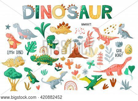Cute Cartoon Dinosaur Set. Funny Dino Characters For Kids Design. Vector Illustration Isolated On Wh