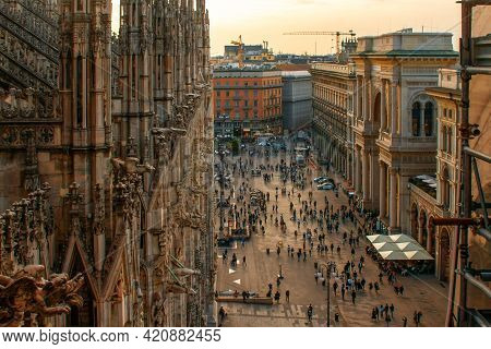 Milan, Italy - October 10, 2017: Aerial View On The Piazza Del Duomo With Part Of Milan Cathedral.