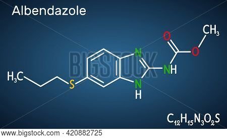 Albendazole Molecule. It Is Is Broad-spectrum, Synthetic Benzimidazole-derivative Anthelmintic, Used