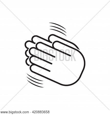 Applaud. Clapping Hand Icon, Linear Illustration Commendable Person For Achievement. Sketch, Logo Ap