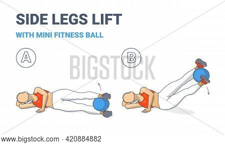Girl Doing Side Legs Lifts With Medicine Ball Home Workout Exercise Guidance Colorful Illustration.