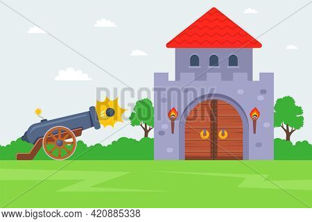 Storming An Enemy Castle. Shoot The Cannon At The Fortress. Flat Vector Illustration.