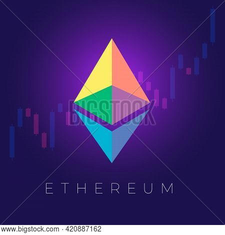 Brightly Lit Color Symbol Sign Logo Virtual Digital Crypto Currency Ethereum On A Blue Background Wi