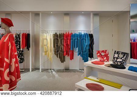 SINGAPORE - CIRCA JANUARY, 2020: interior shot of Bao Bao Issey Miyake store in Nge Ann City shopping center.