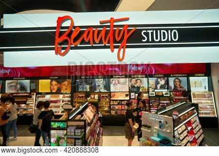SINGAPORE - CIRCA JANUARY, 2020: Beauty Studio sign as seen at Sephora store in Nge Ann City shopping center.