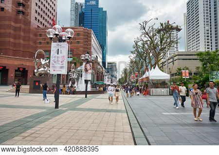 SINGAPORE - CIRCA JANUARY, 2020: street level view of Nge Ann City shopping center in the daytime.