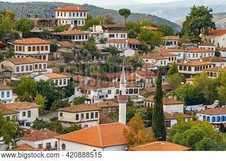 Street view with old houses in historical Sirince village in Izmir region, Turkey