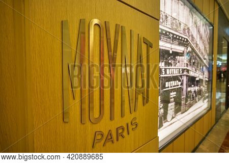 SINGAPORE - CIRCA JANUARY, 2020: close up shot of Moynat sign as seen in Nge Ann City shopping center.