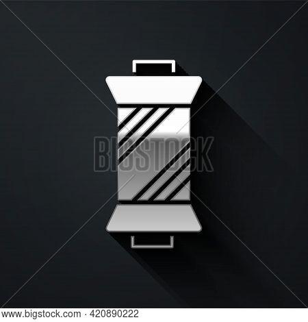 Silver Sewing Thread On Spool Icon Isolated On Black Background. Yarn Spool. Thread Bobbin. Long Sha