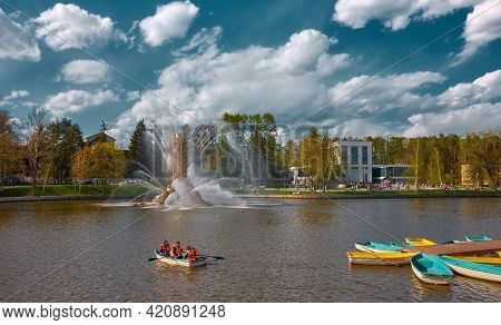 Vdnh, Kamensky Pond, View Of The Golden Spike Fountain And Boat Station, Landmark: Moscow, Russia -