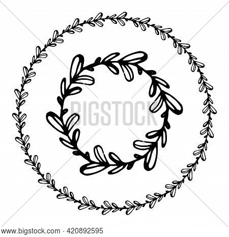 Vector Wreath Of Leaves With An Empty Space For The Text. Set Of Isolated Round Twig Frames With Rou