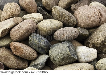 Colorful Pile Of Cobblestones Or Pebbles Useful As A Background Or Texture.