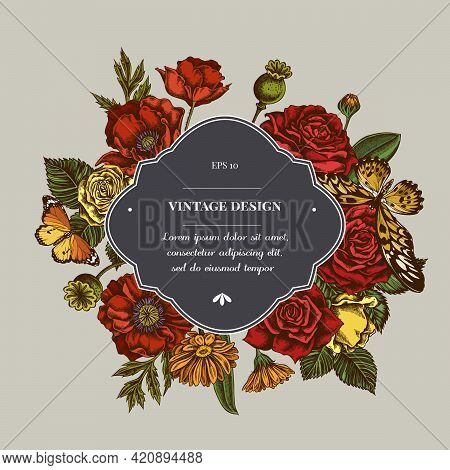 Badge Over Design With Poppy Flower, Calendula, African Giant Swallowtail, Plain Tiger, Roses Stock