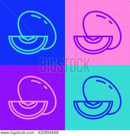 Pop Art Line Melon Fruit Icon Isolated On Color Background. Vector