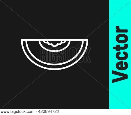 White Line Melon Fruit Icon Isolated On Black Background. Vector
