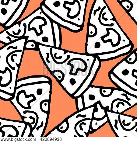 Doodle Pattern Pizza Mushrooms In Hand Drawn Style On Red Background. Seamless Pattern. Vector Graph