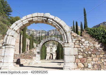 Tarragona, Spain, May 1, 2020 - Ruins And Arches Of Old Monastery Cartoixa Escaladei In Catalonia, O