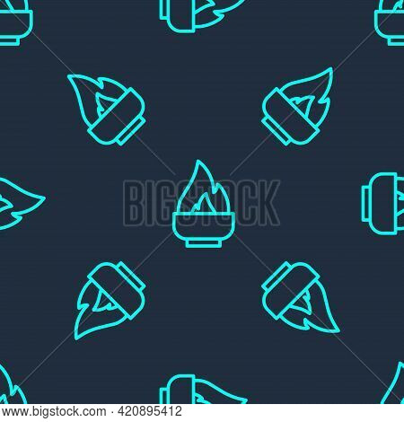 Green Line Alcohol Or Spirit Burner Icon Isolated Seamless Pattern On Blue Background. Chemical Equi