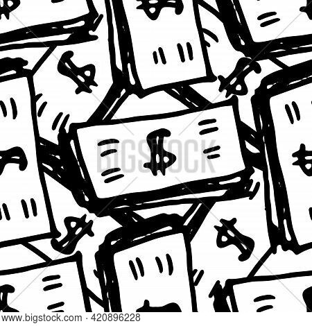 Vector Pattern Of A Bundle Of Money With A Dollar Sign Drawn On It On A White Background. Seamless P
