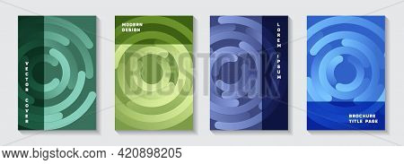 Marketing Catalogue Covers Set. Futuristic Poster Concentric Elements Motion Vector Backgrounds.