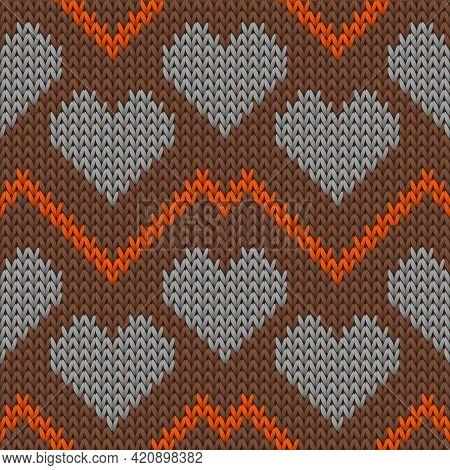 Fair Isle Heart Knit Scandinavian Vector Seamless Pattern. Knitting Texture Valentine